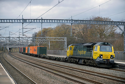 Class 70 No 70007 at Tamworth on 19 February 2014 with the 4O09 10:18 Trafford Park F.L.T. – Southampton M.C.T.