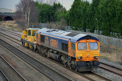 Class 66 No 66707 at Burton-on-Trent on 19 February 2014 with the 7K50 15:13 Toton North Yard – Crewe Basford Hall S.S.M.