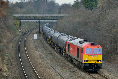 Class 60 No 60092 in Horbury Cutting on 17 February 2014 with the 6E32 10:21 Preston Docks – Lindsey Oil Refinery