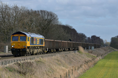 Class 66 No 66745 at Heck Ings Crossing on 21 February 2014 with the 6C72 09:45 Hull Coal Terminal – Eggborough Power Station