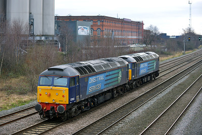 Class 57 No 57003/57012 at Burton-on-Trent on 19 February 2014 with the 0Z97 15:25 Toton North Yard – Crewe Basford Hall S.S.M.