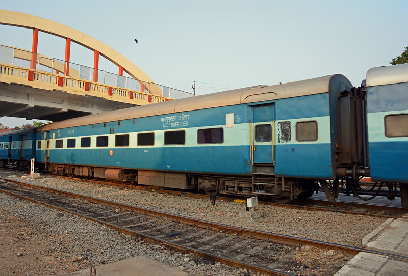 An AC Three Tier car carrying 64 passengers, 16 in two berth sections and 48 in six berth compartments
