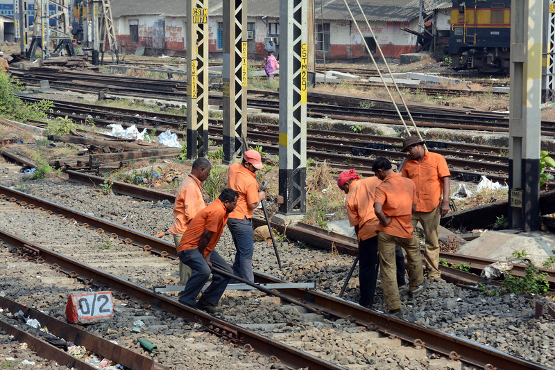 Later in the day we rode the Central Railway mainline commuter service from CST to Byculla. Track workers at work.