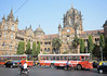 There are elements of Italianate Gothic Revival (a la St Pancras) in the design but also of the Indo Saracenic style of architecture, which was  prominent in the late 19th, and much favoured by Maharajahs when rebuilding their palaces.<br /> <br /> In front are a couple of Ashok-Leyland buses operated by BEST (Brihanmumbai Electricity Supply and Transport - formerly the Bombay Electric Supply and Tramway Company), the worlds largest civic transport and electricity undertaking.