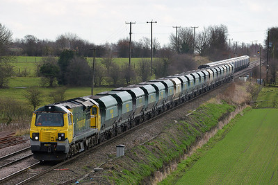 Class 70 No 70011 at Whitley Bridge on 16 January 2014 with the 6M96 13:17 Drax Power Station – Tunstead Sidings