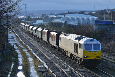 Class 60 No 60066 at Brightside on 23 January 2013 with the 6E51 11:50 Peak Forest Cemex Sidings – Selby Potter Group