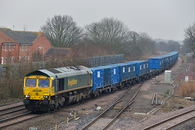 Class 66 No 66597 at Church Fenton on 31 January 2014 with the 6E06 09:32 Bredbury R.T.S. – York Yard South