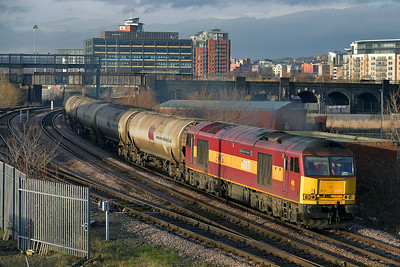 Class 60 No 60071 at Engine Shed Junction on 15 January 2014 with the 6D80 14:20 Neville Hill Depot – Lindsey Oil Refinery