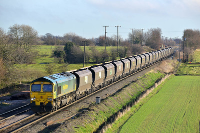 Class 66 No 66550 at Whitley Bridge on 16 January 2014 with the 4N70 10:55 Drax Power Station – Redcar High Level