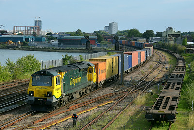 Class 70 No 70018 at St Denys on 9 July 2014 with the 4M98 18:00 Southampton M.C.T. – Garston F.L.T.