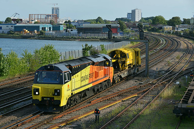 Class 70 No 70806 at St Denys on 9 July 2014 with the 6Z30 17:26 Westbury Down T.C. – Eastleigh East Yard