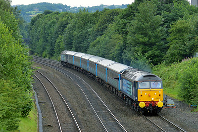 Class 47 No 47853+47841 at Ravensthorpe on 5 July 2014 with the 1Z80 06:22 Liverpool Lime Street – Scarborough
