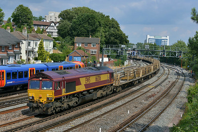Class 66 No 66206 at Southampton on 9 July 2014 with the 6V41 15:54 Eastleigh East Yard – Westbury Down T.C.