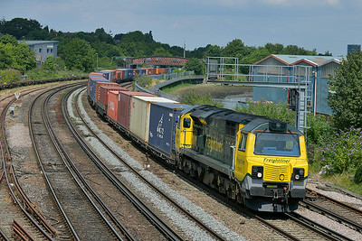 Class 70 No 70015 at St Denys on 9 July 2014 with the 4O54 06:12 Leeds F.L.T. – Southampton M.C.T.