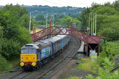 Class 47 No 47841+47853 at Ravensthorpe on 5 July 2014 with the 1Z80 06:22 Liverpool Lime Street – Scarborough