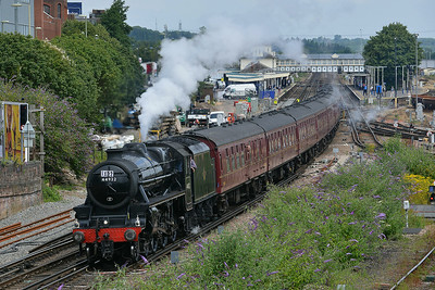 Class 5MT No 44932 at Eastleigh on 9 July 2014 with the 1Z67 08:44 London Victoria – Weymouth