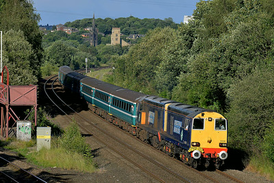 Class 20 No 20308/20309+57308 at Ravensthorpe on 6 July 2014 with the 1Z20 16:40 Bradford Interchange – (Sheffield) diverted to Blackburn. Driver Ian Tunstall