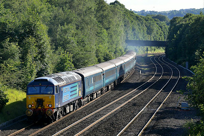Class 57 No 57308+20308/20309 at Ravensthorpe on 6 July 2014 with the 1Z20 16:40 Bradford Interchange – (Sheffield) diverted to Blackburn. Driver Ian Tunstall