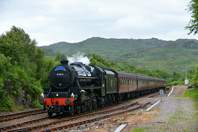 Class 5MT No 44871 at Arisaig on 3 July 2014 with the 2Y68 14:40 Fort William – Mallaig