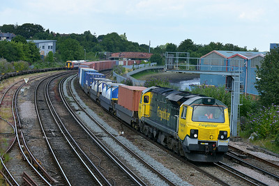 Class 70 No 70018 at St Denys on 9 July 2014 with the 4O51 09:58 Wentloog – Southampton M.C.T.