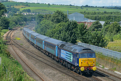 Class 47 No 47853+47841 at Mirfield on 5 July 2014 with the 1Z85 09:50 Scarborough – Liverpool Lime Street