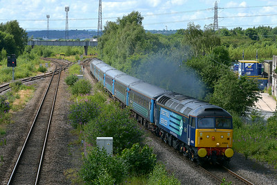 Class 47 No 47853+47841 at Horbury Bridge on 5 July 2014 with the diverted 1Z87 13:22 Liverpool Lime Street – Scarborough