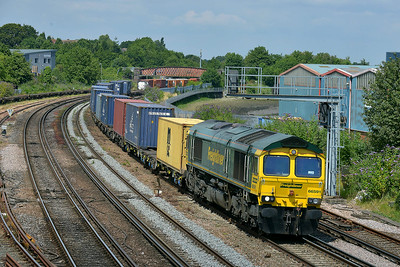 Class 66 No 66591 at St Denys on 9 July 2014 with the 4O49 09:22 Crewe Basford Hall S.S.M. – Southampton M.C.T.