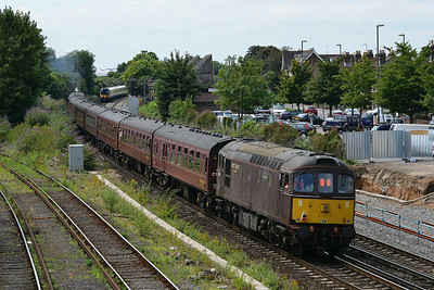 Class 33 No 33207 at Eastleigh on 9 July 2014 with the 1Z67 08:44 London Victoria – Weymouth
