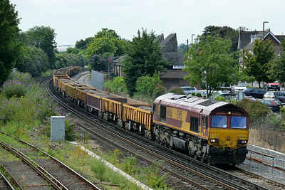 Class 66 No 66066 at Eastleigh on 9 July 2014 with the 6O41 10:14 Westbury Down T.C. - Eastleigh East Yard