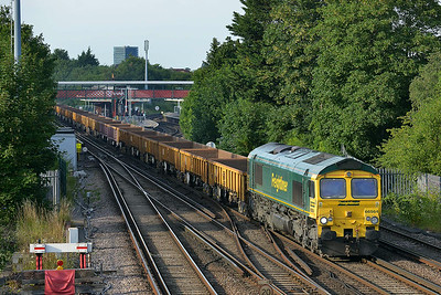 Class 66 No 66564 at St Denys on 9 July 2014 with the 6Y08 18:46 Eastleigh East Yard – Laverstock North Jn