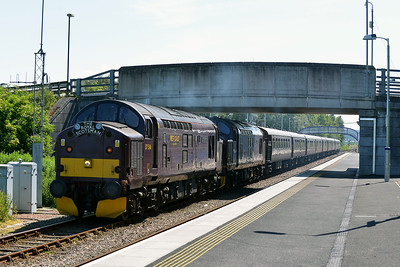 Class 37 No 37516/37685 at Dingwall on 1 July 2014 with the 1H80 10:00 Keith – Kyle of Lochalsh