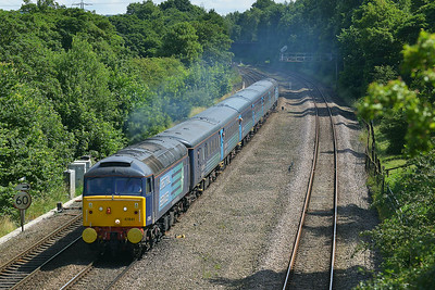 Class 47 No 47841+47853 at Mirfield on 5 July 2014 with the 1Z85 09:50 Scarborough – Liverpool Lime Street