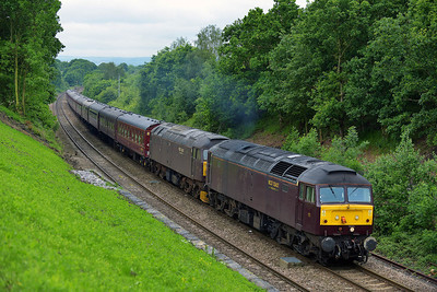Class 47 No 47237/47245 at Normanton on 5 June 2014 with the 1Z45 06:13 Radlett – Carlisle
