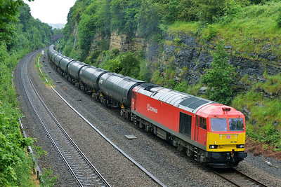 Class 60 No 60100 in Horbury Cutting on 4 June 2014 with the 6E32 08:55 Preston Docks Lanfina – Lindsey Oil Refinery