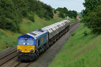 Class 66 No 66751 at Sharlston on 11 June 2014 with the 6E84 08:20 Middleton Towers – Monk Bretton Redfearns