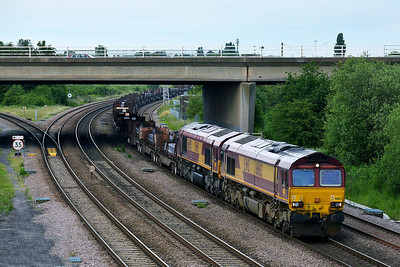 Class 66 No 66162/66005 at Thorne Junction on 11 June 2014 with the 6N73 19:47 Scunthorpe B.S.C. (Ent C) – Lackenby B.S.C.