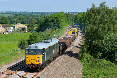 Class 31 No 31601+31190 at Crigglestone on 1 June 2014 with the 6Z42 08:48 Milford Junction – Chaddesden Sidings (that's better)