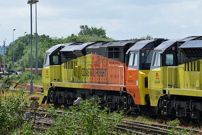 Class 70 No 70805 at Westbury on 7 June 2014