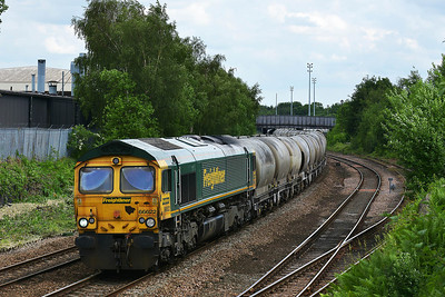 Class 66 No 66622 at Hunslet on 11 June 2014 with the 6Z54 05:20 Oxwellmains Lafarge – Hunslet Tilcon