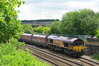 Class 66 No 66089 at Hunslet on 11 June 2014 with the 4D79 09:53 Redcar B.S.C. (Min.T.) – Rylstone Tilcon