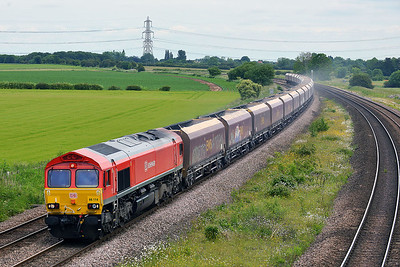 Class 66 No 66114 at Burton Salmon on 13 June 2014 with the 4D79 09:53 Redcar B.S.C. (Min.T.) – Rylstone Tilcon