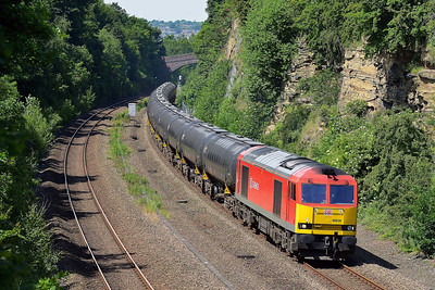 Class 60 No 60039 in Horbury Cutting on 6 June 2014 with the 6E32 08:55 Preston Docks Lanfina – Lindsey Oil Refinery