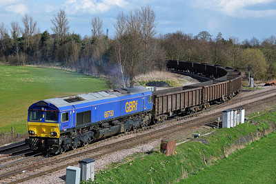 Class 66 No 66750 at Whitley Bridge on 21 March 2014 with the 6D80 12:42 Eggborough Power Station – Doncaster Down Decoy