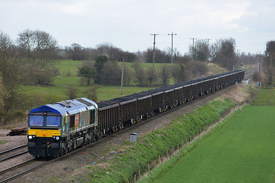 Class 66 No 66718 at Whitley Bridge on 21 March 2014 with the 6C72 09:45 Hull Coal Terminal – Eggborough Power Station