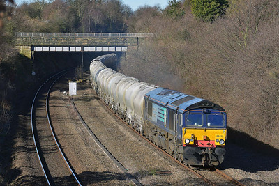 Class 66 No 66415 in Horbury Cutting on 10 March 2014 with the 6M89 09:50 Dewsbury Blue Circle – Hope (Earls Sidings)