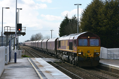 Class 66 No 66034 at Hensall on 21 March 2014 with the 6H10 11:49 Redcar B.S.C. Ore Terminal - Drax Power Station
