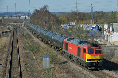 Class 60 No 60091 at Horbury Bridge on 10 March 2014 with the 6E32 10:21 Preston Docks – Lindsey Oil Refinery