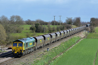 Class 66 No 66524 at Whitley Bridge on 21 March 2014 with the 4G11 12:40 Drax Power Station – Sudforth Lane Up Rs