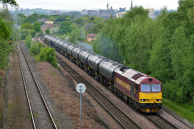 Class 60 No 60065 at Oakenshaw Junction on 12 May 2014 with the 6E32 09:56 Preston Docks Lanfina – Lindsey Oil Refinery