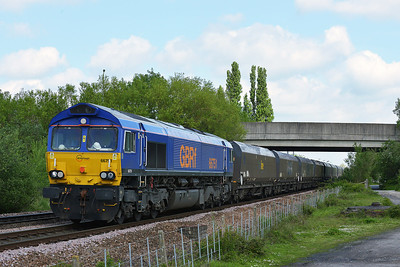 Class 66 No 66751 at Sherburn-in-Elmet on 14 May 2014 with the 6B93 08:43 Tyne Coal Terminal – West Burton Power Station